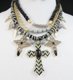 COWGIRL bling CROSS Black Gray Chevron Gypsy Charms Feather Western Necklace set