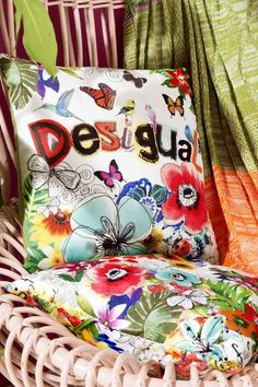 Square cushion with flowers and butterflies   Desigual Collage