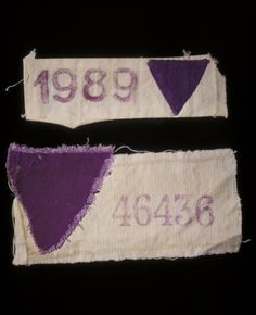 Purple triangle worn by Jehovah's Witnesses in concentration camps during 2nd world war