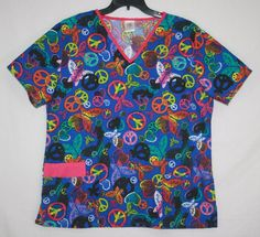 B Scrubs Peace Love Butterflies Scrub Top Size 1X #BScrubs