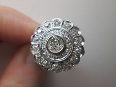Deco Diamond Ring, Platinum & Old European Cut Diamonds, c.1930 from facetsforyou on Ruby Lane