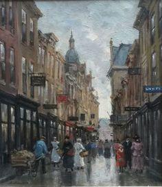 Anton Karssen (1945- ) Stadsgezicht Den Haag (Noordeinde?) La Haye, Perspective Art, City Painting, Literature Books, The Hague, Dutch Painters, Amsterdam, Dutch Artists, Anton