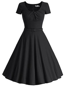 MUXXN Women's Vintage Short Sleeve Pleated Swing Cocktail Dress(S,Black): Size Information/b br br S:/b br br M:/b br br L:/b br br XL:/b br br Blue Bridesmaid Dresses, Blue Dresses, Vintage Shorts, Vintage Outfits, Vintage Clothing, Casual Dresses For Women, Dresses For Sale, Junior Party Dresses, Blue Party Dress