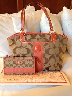 NWT Coach Signature Striped Pocket Tote with Matching Zippy Wallet - gotta love the coral coloring