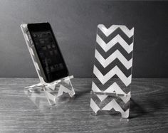 iPhone 6, iPhone 6 Plus, iPhone 5 or iPhone 4 Phone Stand Docking Station - Acrylic Chevron Pattern - Universal Smart Phone Stand by PhoneTastique on Etsy https://www.etsy.com/listing/124638083/iphone-6-iphone-6-plus-iphone-5-or