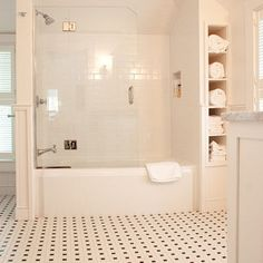Traditional Bathroom Black And White Tile Bathroom Design, Pictures, Remodel, Decor and Ideas - page 8 Small Bathroom Storage, Bathroom Styling, Bathroom Interior Design, Small Bathrooms, Small Bathtub, Interior Modern, Tub With Glass Door, Sliding Glass Door, Glass Doors