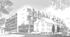 """Study for the south facade sunshade treatment, from """"Using Sketchup to design a contemporary multi-story housing project for a Boston neighborhood."""""""