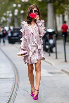 Pink patterned dress. Xo.