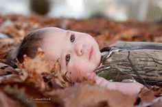 camo leaves fall baby picture idea Haden would die to do this with tanner!