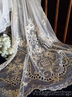 Antique Lace~ Pair of French Net Tambour Lace Curtains c1900.  www.Vintageblessings.com