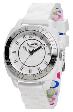 Loving this white watch by COACH.