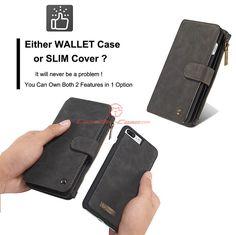 CaseMe 007 iPhone 7 Plus Zipper Wallet Detachable 2 in 1 Flip Case Black