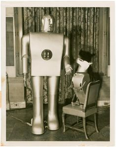 Westinghouse - Mechanical Man and Dog (Elektro and Sparko) - Elektro and Sparko. New York World's Fair (1939-1940). NYPL Digital Gallery.