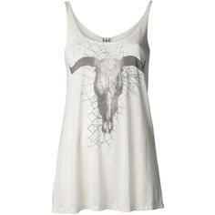 HAUTE HIPPIE spiderweb and longhorn t-shirt ($125) ❤ liked on Polyvore featuring tops, shirts, tank tops, tanks, scoop neck shirt, scoopneck tank, scoop neck tank top, modal shirt and white scoop neck shirt