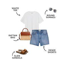 #capsulewardrobe #summerfashion New Outfits, Summer Outfits, Casual Outfits, Cute Outfits, Bathing Suit Shorts, Dress Hats, White Tees, Capsule Wardrobe, Spring Summer Fashion