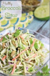 You will never miss the mayo in my Healthy Broccoli Slaw recipe! Tangy yogurt, sweet honey and pumpkin seeds make this unique slaw a cookout favorite. I'm not counting or anything, … Brocolli Slaw Salad, Broccoli Slaw Dressing, Broccoli Slaw Recipes, Salad Recipes, Clean Eating Recipes, Cooking Recipes, Healthy Recipes, Healthy Foods, Healthy Eating