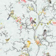 Ornithology Birds Blue Wallpaper | Departments | DIY at B&Q