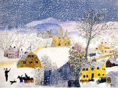 Sophia and Olivia have been learning about Grandma Moses as part of homeschooling this year. They have learned a bit about Grandma Moses as . Grandma Moses, Illustrations, Illustration Art, Winter Wallpaper, Primitive Folk Art, Wow Art, Naive Art, Winter Scenes, Christmas Art