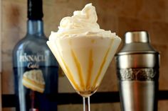 Tres Leches Caketini   (4 tablespoons Pinnacle Cake flavored vodka   4 tablespoons heavy cream (or milk/half)   3 tablespoons evaporated milk   2 tablespoons sweetened condensed milk   1½ teaspoons vanilla/yellow packaged cake mix   cajeta (or caramel or dulche de leche)   whipped cream)