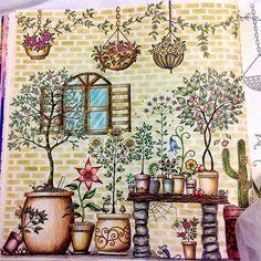 Inspirational coloring pages Johanna Basford Jardin Secret, Secret Garden Book, Secret Garden Coloring Book, Johanna Basford Coloring Book, Graffiti, Colouring Techniques, Polychromos, Color Pencil Art, Secret Gardens