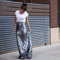 I could never make this but I definitely want one! DIY Sequin Maxi Skirt | Whimseybox