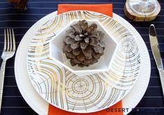 Navy, white, gold & orange modern fall table setting.