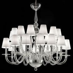 """""""Vasco"""" Murano glass chandelier - 12 + 12 lights, transparent"""