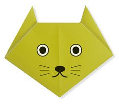 Easy Origami For Kids.: Cat(face)