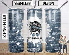 Seamless Christian Life Skinny Tumbler 20oz Design PNG