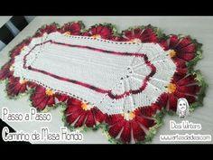 Artes da Desi: Passo a passo Caminho de Mesa Florido de crochê