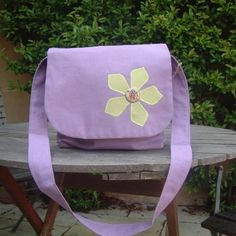 Purple Flower Motif Messenger Bag