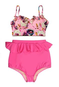 b50625474b Pink Pastel Rose Midkini Top and Pink Peplum Highwaisted High Waisted Waist Swimsuit  Swimwear Bikini Bathing suit Swim Swimming Wear S M