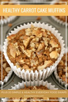 These HEALTHY CARROT CAKE MUFFINS taste exactly like your favourite classic carrot cake recipe!! Packed full of plant-based ingredients, including carrots, apples, bananas and almond milk, they're sure to be a hit with the whole family!  #healthy #carrot
