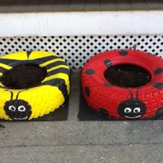 Tire container garden. Fun for kids! Now this looks awesome!!!...Im sure my artistic husband can paint these!