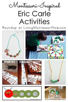 Lots of Montessori-inspired Eric Carle activities and resources in a roundup post to extend the wonderful content of Eric Carle's books - Living Montessori Now Very Hungry Caterpillar Printables, Hungry Caterpillar Activities, Preschool Themes, Math Activities, Toddler Activities, The Very Busy Spider, Butterfly Felt, School Songs, Pencil And Paper