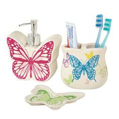 Butterfly Bathroom Accessories Set - 3 Pc Butterfly Bathroom Decor #butterflies #bathroom