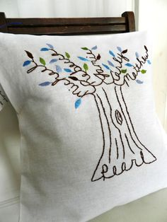 Personalized Family Tree Pillow Cover. Shades by BlueLeafBoutique Mom and Dad.  Last Name. Anniversary. Father's Day Gift. Children. Grandchildren.