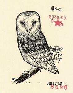 Woodland Field Studies four mini print set trading cards woodland wildlife owls chipmunk nature drawing art - Matty Cipov
