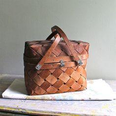 Vintage Picnic Basket and Cloth