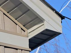 Save money and time when installing soffit, the exposed siding underneath your roof's overhang. Vinyl Soffit, Roof Soffits, Vinyl Siding Installation, Roof Eaves, Soffit Ideas, Roof Cap, Outdoor Buildings, Exterior Remodel, Modern Staircase