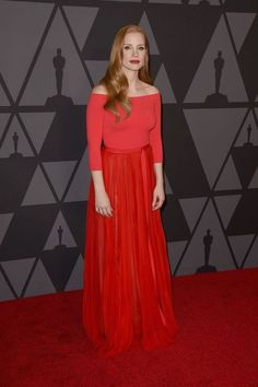 Jessica Chastain in Alexander McQueen at the Academy Of Motion Picture Arts And Sciences 2017 Governors Awards.