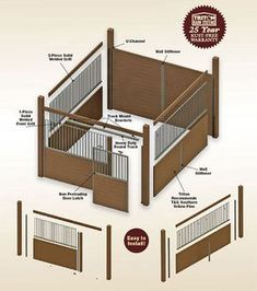 Horse Stall Kit: Modular Horse Stall Kits by Triton Barn Systems. Horse stall kit door options and assembly instructions. Horse Shelter, Horse Stables, Horse Barns, Equestrian Stables, Horse Barn Designs, Barn Stalls, Horse Barn Plans, Plans Architecture, Dream Barn