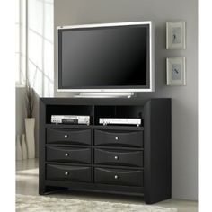 Amazon.com: Coaster Briana Media Chest with Drawers and Shelves in Glossy Black: Furniture & Decor