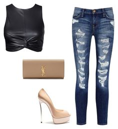 """Untitled #440"" by fashionic96 ❤ liked on Polyvore featuring Current/Elliott, Casadei and Yves Saint Laurent"