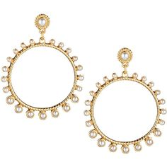R.J. Graziano Pearlescent-Bead Golden Hoop Earrings (65 RON) ❤ liked on Polyvore featuring jewelry, earrings, gold, beaded earrings, golden earring, gold bead earrings, hoop earrings and gold earrings