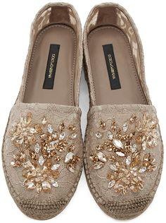 Dolce & Gabbana - Tan Lace Embellished Espadrilles