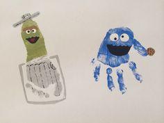 Oscar The Grouch Footprint & Cookie Monster Handprint