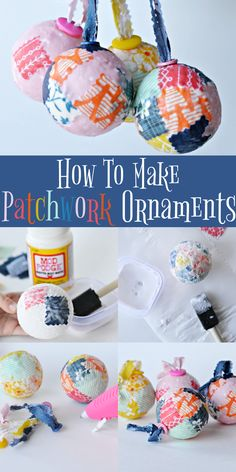 DIY Patchwork Ornaments based off the book Coat of Many Colors by Dolly Parton. These ornaments are sure to look bright and cheery on the tree! It's a great craft for both kids and adults.