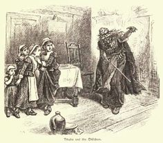 Sketch of Tituba instructing the girls in voodoo.  By Alfred Fredericks.