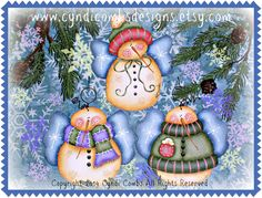 CC167 - Sweet Snowie Angels - Painting Pattern Packet By Mail - pinned by pin4etsy.com